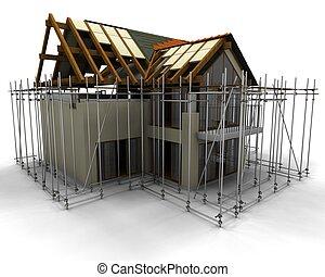 maison, échafaud, construction, contemporain, sous