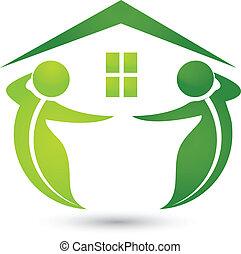 maison, écologique, pousse feuilles, logo