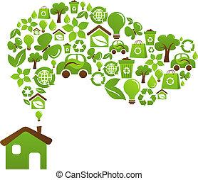 maison, écologique, vecteur, -, conception