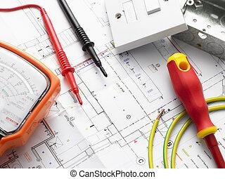 maison, électrique, plans, équipement