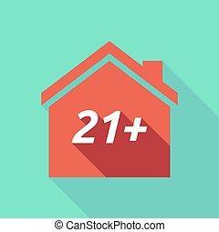 maison, 21+, ombre, long, texte