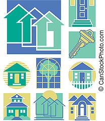 maison, 3, collection, icônes