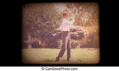 maison, 8mm, vieux, golf, film