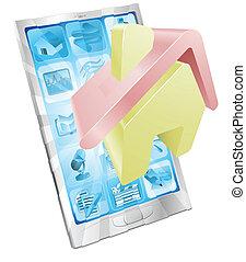 maison, app, concept, icône, téléphone