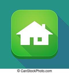 maison, app, ombre, long, icône