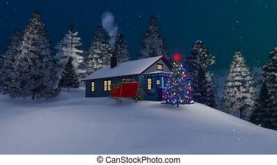 maison, arbre, 4k, nuit, décoré, noël