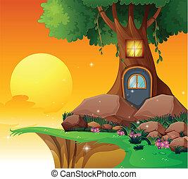 maison, arbre, falaise