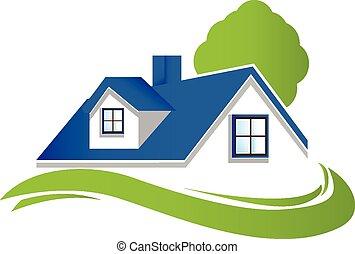 maison, arbre, logo