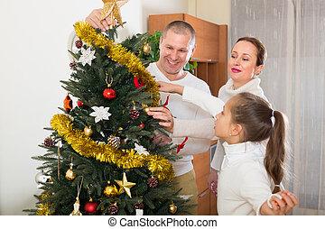 maison, arbre, noël, famille