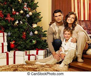 maison, arbre, noël heureux, famille, intérieur