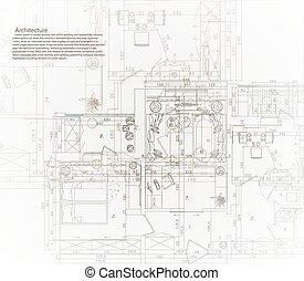 maison, architectural, blueprint.