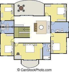 maison, architecture, floorplan, plan