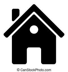 maison, arrière-plan., vecteur, noir, blanc, icône