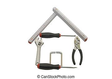 maison, bâtiment, isolé, outils, blanc