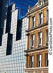 maison, bâtiments, moderne, vieux, bureau