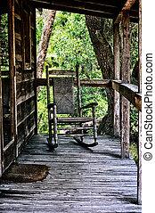 maison, balancer, vieux, chaise, porche
