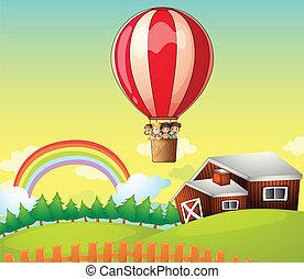 maison, balloon, gosses, air