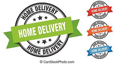 maison, bande, set., signe, étiquette, stamp., livraison, rond