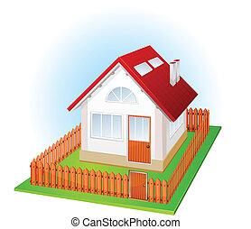 maison, barrière, petit