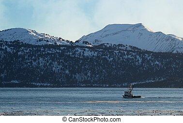 maison, bateau pêche, titre