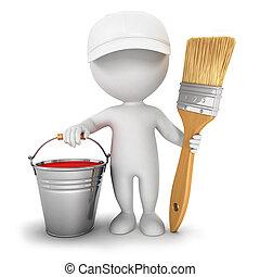 maison, blanc, 3d, peintre, gens