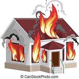 maison, blanc, brûlures, pierre