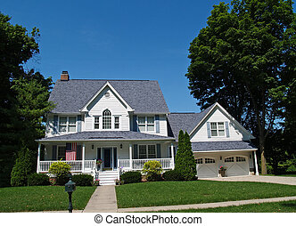 maison, blanc, deux-histoire, garage