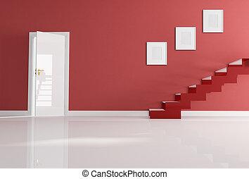 maison, blanc, entrée, rouges