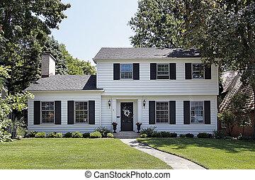 maison, blanc, suburbain