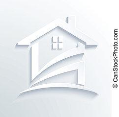 maison, blanc, vecteur, logo
