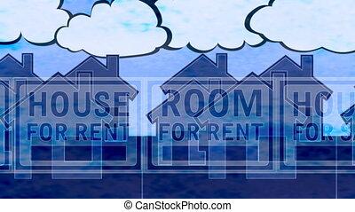 maison, bleu, boucle, loyer, vente, toile de fond