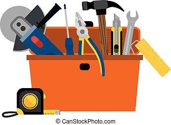 maison, boîte outils, bricolage, réparation