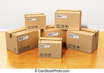 maison, boîtes, carton, nouveau