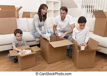 maison, boîtes, en mouvement, famille, déballage