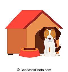maison bois, bol, chien
