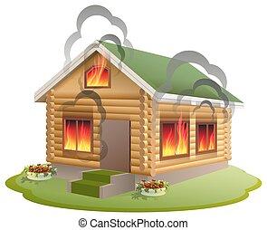 maison bois, brûler