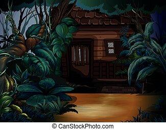 maison bois, forêt, profond