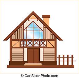 maison bois, modèle, famille