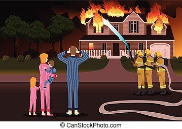 maison, brûlé, mettre, pompiers, feux, dehors