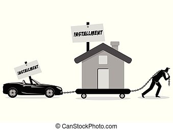 maison, cabriolet, homme affaires, traîner, voiture