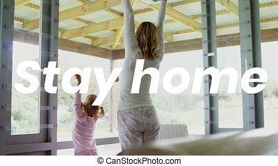 maison, caucasien, elle, fille, pratiquer, pendant, covid19, femme, coronavirus, pandémie, mots, séjour
