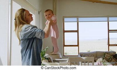 maison, caucasien, elle, pendant, girl, bébé, femme, coronavirus, covid19, pandémie