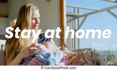 maison, caucasien, elle, pendant, pandémie, bébé, femme, coronavirus, mots, séjour