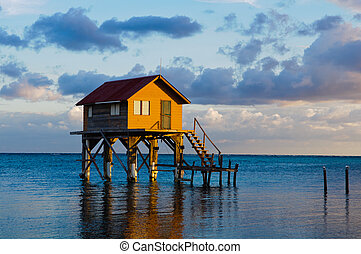 maison, caye, belize, ambergris, océan