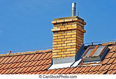 maison, cheminée, toit