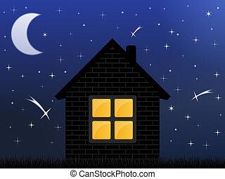 maison, ciel, nuit
