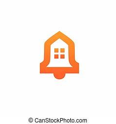 maison, cloche, logo, formé, silhouette