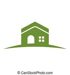 maison, colline verte