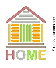 maison, coloré, icône