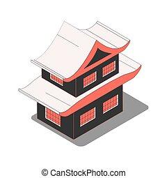 maison, composition, isométrique, chinois